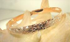 8MM 14K ROSE GOLD PLATED OVER STERLING SILVER HAWAIIAN HERITAGE SCROLLS BANGLE