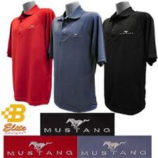 FORD MUSTANG EMBROIDERED PERFORMANCE POLO SHIRT BLACK BLUE OR RED