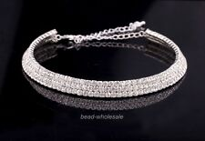 1pc Charm 3-Row Austrian Clear Rhinestone Crystal Wedding/Bridal Choker Necklace
