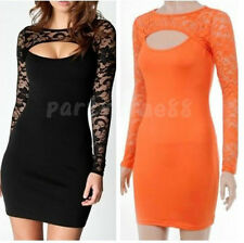 Womens Sexy Long Sleeve Floral Lace Front Cutout Bodycon Party Dress Size S-XXL