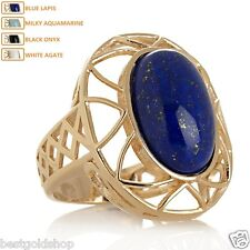 Technibond Oval Cabochon Framed Gemstone Ring 14K Yellow Gold Clad Silver 925