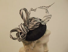 New Ladies Wedding Events Pillbox Fascinator Headband Sinamay Bow Twist
