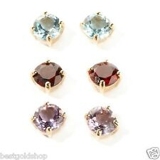 6mm Technibond Round Gemstone Stud Earrings 14K Yellow Gold Clad Silver 925