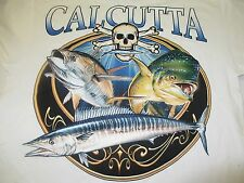 NEW Calcutta White Short Sleeve Tee Shirt with Pocket-Off Shore Fish Trio  LARGE