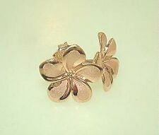 7MM-16MM HAWAIIAN 14K ROSE GOLD BRUSHED SATIN PLUMERIA FLOWER POST STUD EARRINGS
