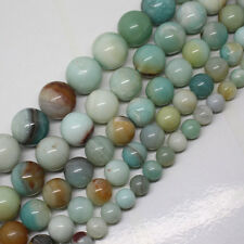 4-16mm Natural Multicolor Amazonite Round Gemstone beads 15""