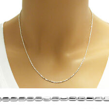 925 Sterling Silver Thin Faceted Rice Bead Chain Necklace 1mm