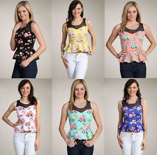 Sexy Vintage Event Dating 50th Floral Print Sweetheart Peplum Top Shirt S/M/L
