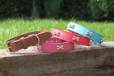 Leather Designer Dog Collars New Puppy Small Medium Large Pet Studded Collar
