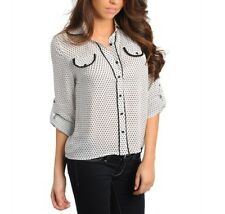 BLACK AND WHITE POLKA DOT CLASSY CHIC CAREER BUTTON DOWN SHIRT TOP  S, M, L