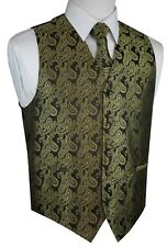 ITALIAN DESIGN 3 PIECES OLIVE PAISLEY TUXEDO VEST, TIE & HANKY SET. XS-4XL