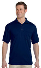 Gildan Men's Three Button Placket 50/50 Welt Knit Collar Pocket Polo Shirt. G890