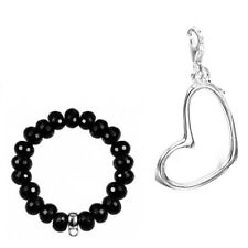 Sterling Silver Large Open Heart Charm with FREE BRACELET