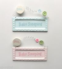 Shhh BABY SLEEPING Hanging Door Sign - Blue - Pink - New baby - Christening Gift