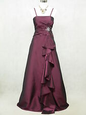Cherlone Satin Dark Purple Sparkle Long Wedding/Evening Bridesmaid Gown Dress