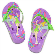 TINKER BELL DISNEY FAIRIES Purple Platform Flip Flops Beach Sandals Thongs NWT