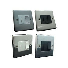 Brushed Satin Steel, Polished Chrome Switched Fused Spur 1 gang Steel Plate