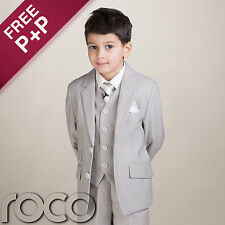 Boys Stone Beige Premier 3pc Suit for Wedding Formal Pageboy Christening Suits