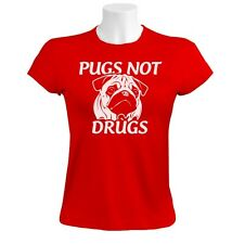 pugs not drugs Women T-Shirt funny dog movie animal show love new all sizes