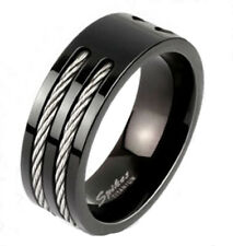 Ti Titanium Men's Ion Plated Black w/ Dual Wire Inlaid Center Band Ring