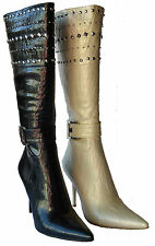 Italina Women High Heel Fashion Boots Knee Spike Studded Sexy Shoes Size 5.5~10