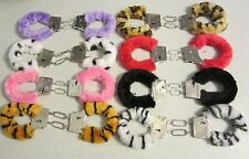 SEXY FURRY FUZZY LADIES HANDCUFFS ADULT FUN HEN PARTY ANIMAL FUR METAL WRIST