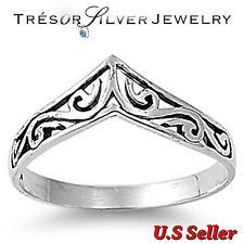 .925 sterling silver filigree design chevron womens band ring size 4 5 6 7 8 9