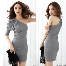 Sexy Stylish New Asymmetric One Shoulder Mini Dress Plaids Checks Ruffled Party