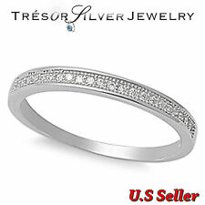 sterling silver micro pave wedding engagement womens band ring size 5 6 7 8 9