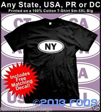 USA 50 States Oval T-Shirt Any State, USA, PR or DC Small to 5XL Big FREE DECAL!