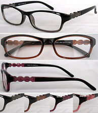 (R326) Plastic Frame Reading Glasses with Spring Hinges. Designed Arm Details.