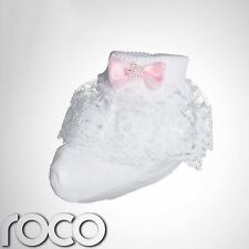 Baby Girls White Frilly Socks Pink Bow Infant Youth Designer Dress Socks