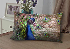 Elegant rectangle velvet pillow cushion cover peacock on both sides