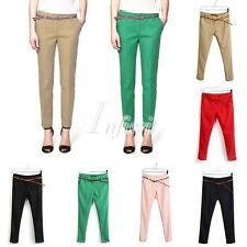 New Stylish Ol Women's Chic Slim Fit Pants Trousers With Waistbelt 6 Colors