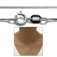 "Guaranteed 10K White Gold Box Chain Necklace 0.6mm 16""-24"""
