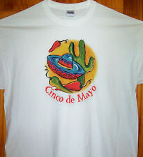 CINCO DE MAYO T Shirt White Sz SM - 5XL  May Party Time Hot Peppers Cactus