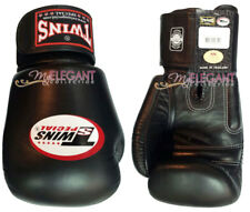 Twins Muay Thai MMA Boxing Training Leather Gloves with Strap BGVL-3 Black