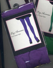 LA 7300 Tights Opaque Nylon Pantyhose Black Purple or Kelly Green Size Regular