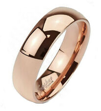 Solid Ti Titanium Rose Gold 6mm Plain Band Ring Size 5-13