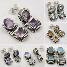 925 Silver Tribal Studs Earrings LABRADORITE, GARNET & More Gemstones To Choose