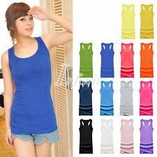 Girl Womens Cotton Candy Color Racerback Summer Sundress Casual Blouse Tank Tops
