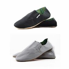 MENS ZASEL COTTON COMFORTABLE CANVAS SLIP ON CASUAL SHOES BLACK WHITE SIZE 40-46