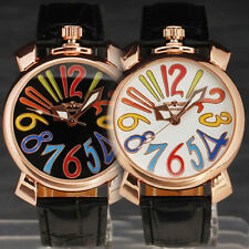 STYLISH MEN Golden Big Number Crown Lovely Dial 3 Hands Semi-Auto Mechanical NEW