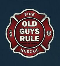 OLD GUYS RULE BADGE OF HONOR (FIRE) NAVY BLUE TEE SHIRT