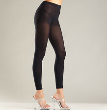 Opaque Footless Tights Stretch Lycra Black One Size Plus XL Queen Be Wicked! 656