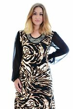 New Womens Dress Ladies Plus Size Chiffon Sleeves Bead Stud Tunic Pearl Nouvelle
