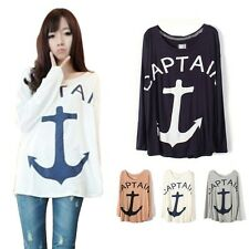 Girl Women's Loose Casual Batwing Sleeve Hook Anchor Patten T Shirt Tops Blouse