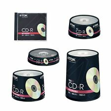 TDK CD-R 80 Compact Disc Recordable CDR Data Music 1 10 20 25 35 50 100 200 500