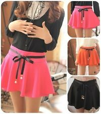 Hot Womens Korean Flounced Sweet Solid Bow Belt Casual Mini Skirt Shorts 3Colors