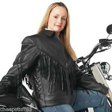 Ladies Classic Style Solid Genuine Buffalo Leather Motorcycle Riding Jacket
